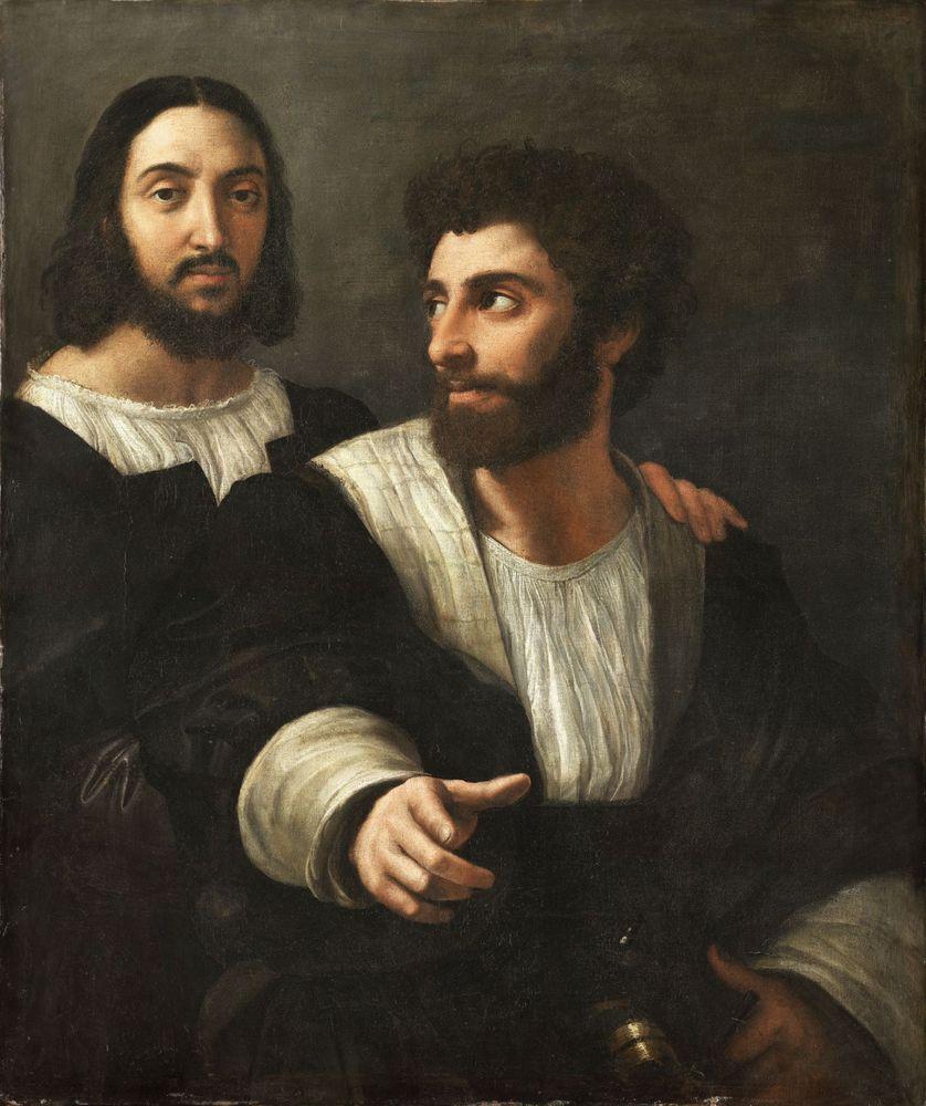 """Le """"Portrait de l'artiste avec un ami"""" (datant de  la période 1518-1520) est exposé au musée du Louvres"""