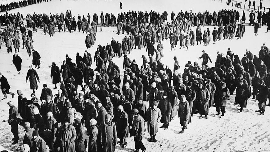 Prisonniers de la Wehrmacht au camp de Stalingrad