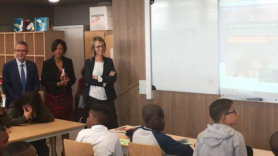 La ministre de la culture Françoise Nyssen en visite au collège Barbara de Stains pour la rentrée en musique