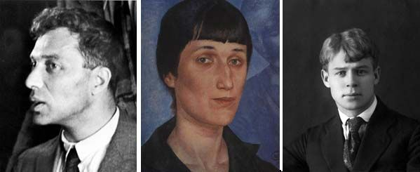 Boris Pasternak (1933);  Anna Akhmatova (1922) par Kuzma Petrov-Vodkin; Sergeï Essenine (1922)