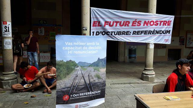 Le bâtiment historique de l'université de Barcelone occupé par les indépendantistes.