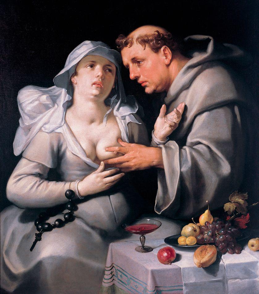 """""""Un moine et une religieuse"""" Le religieux caresse la poitrine de la nonne 1591- Peinture de Cornelis Cornelisz van Haarlem (1562-1638)"""
