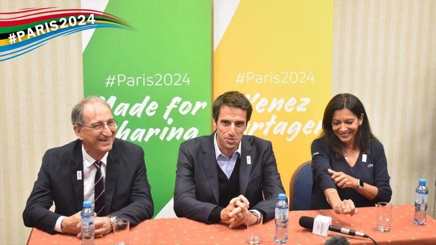 Denis Masseglia, Tony Estanguet et Anne Hidalgo, ce dimanche, à Lima, au Pérou.