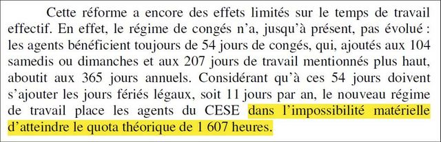 Extrait d'un rapport de la cour des comptes. Certains agents du CESE travaillent 200h de moins que la durée légale annuelle