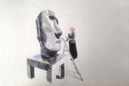 Bérénice Geoffroy-Schneiter au pavillon des Sessions (dessin de Lucile Piketty)