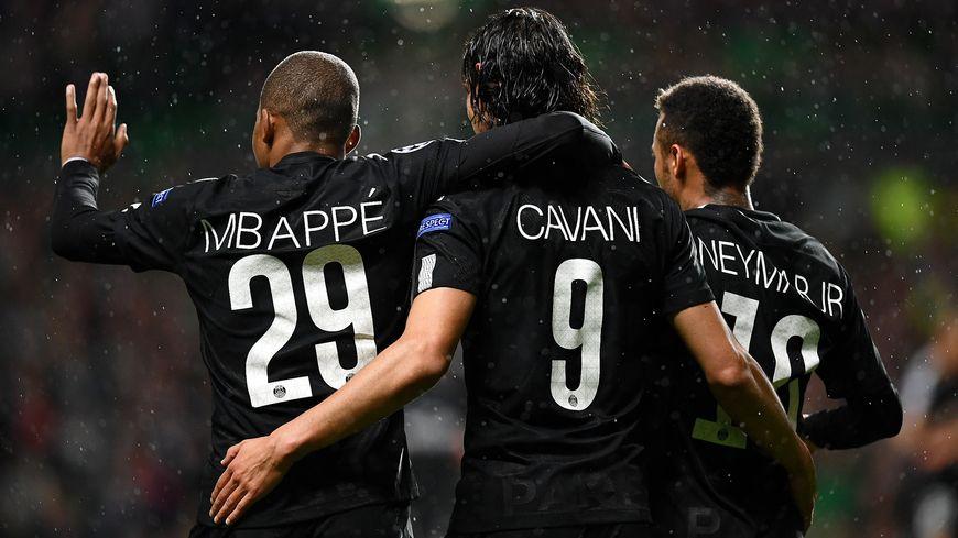 M'Bappé, Cavani et Neymar face au Celtic Glasgow le 12 septembre 2017.