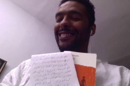 """Ghassan et sa traduction du """"Antigone"""" de Jean Anouilh, depuis Casablanca (joint par Skype par Caroline Gillet)"""