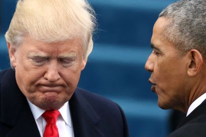 Donald Trump et Barack Obama à la cérémonie d'investiture le 20 janvier 2017.