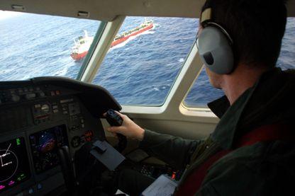 A bord d'un Falcon 50 de la Marine Nationale, lors d'une mission de surveillance, Golfe de Gasgogne