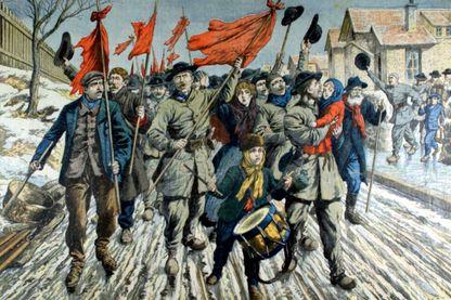 Manifestation des mineurs dans le Pas-de-Calais en 1906 - illustration dans Le petit journal