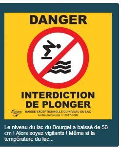 Il est interdit de sauter ou plonger depuis les pontons durant toute l'opération de baisse