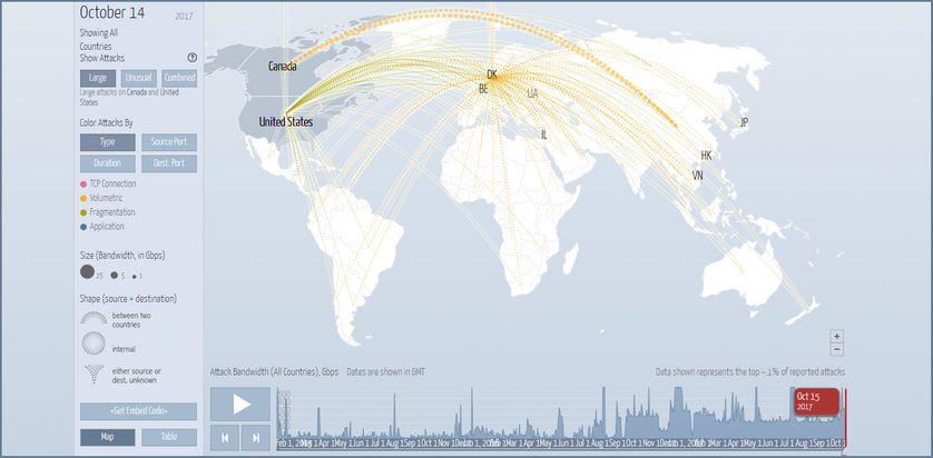 Carte du flux international d'attaques informatiques de ce samedi 14 octobre, mesuré par le site digitalattackmap.com