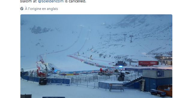 La Fédération Internationale de Ski a pris la décision d'annuler le géant de Sôlden vers 6h50 ce dimanche (capture d'écran page Twitter @fisalpine)
