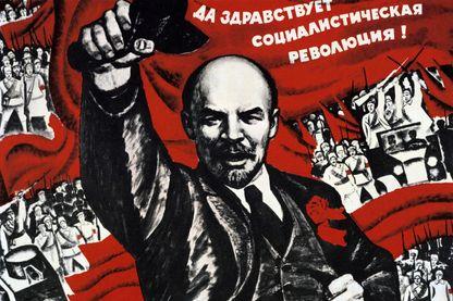 Affiche  de propagande communiste de la Révolution d'Octobre 1917 avec Vladimir Ilitch Oulianov