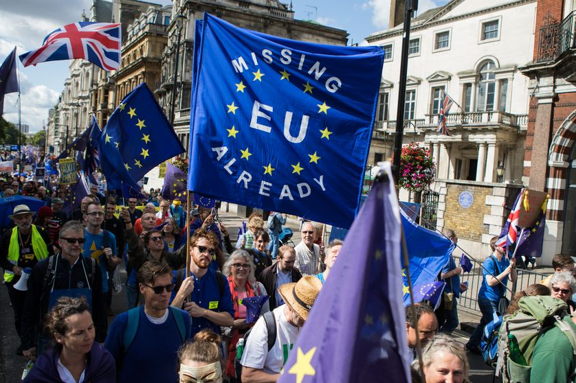 A Londres, le 9 septembre 2017, des milliers de personnes défilent contre le Brexit et réclament un deuxième référendum