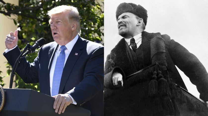 Donald Trump en 2017 et Lénine en 1918 sur la place Rouge.
