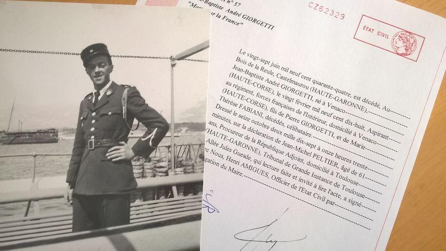 L'acte de décès de Jean-Baptiste Giorgetti dressé par la justice toulousaine, le 16 octobre dernier.