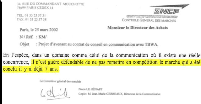Extrait de la lettre du contrôleur des marchés de la SNCF à la Direction des achats