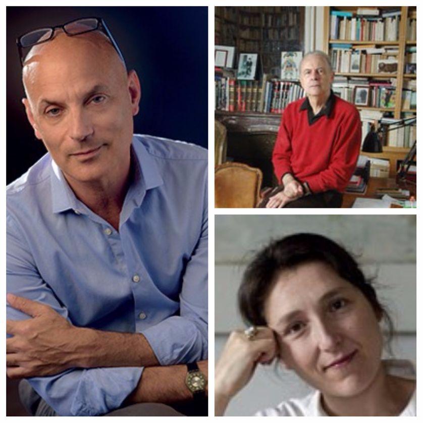 A gauche : Daniel Mendelsohn ; en haut à droite : Patrick Modiano ; en bas : Marie Darrieussecq