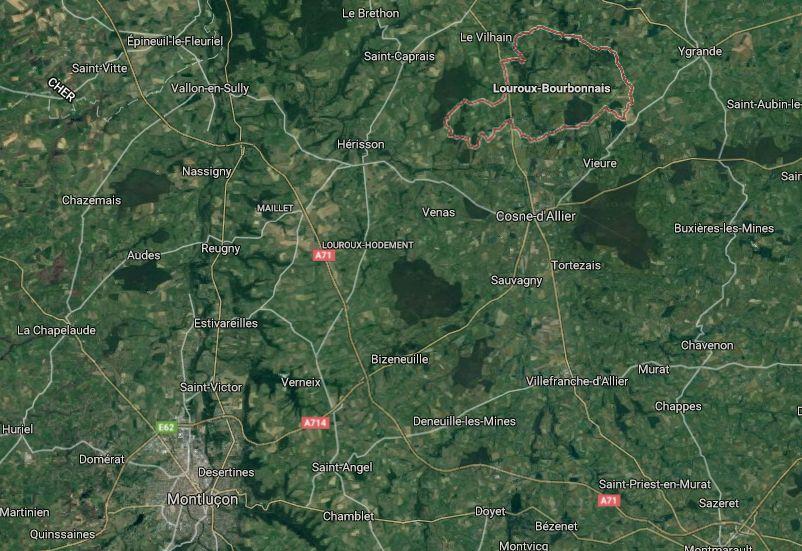 Louroux-Bourbonnais se situe au nord de Cosne-d'Allier.