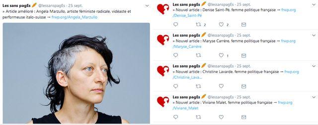 Le fil Twitter les sans pagEs annonce les nouvelles publications concernant les femmes