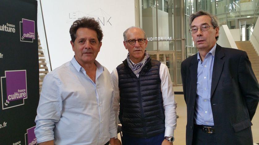 De gauche à droite : Jean de Loisy, Glenn D. Lowry, Alfred Pacquement à la Fondation Louis Vuitton (11.10.2017)
