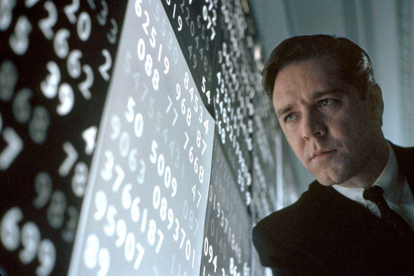 """Russell Crowe dans le film biopic sur Nash """"un homme d'exception"""" (2001) de Ron Howard"""