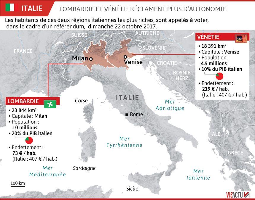 Les régions de Lombardie et Vénétie réclament plus d'autonomie