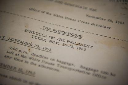 Programme officiel du voyage du président Kennedy à Dallas, du 20 au 22 novembre 1963