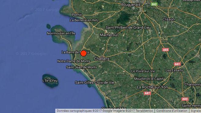 L'épicentre est à 13 kilomètres de Challans
