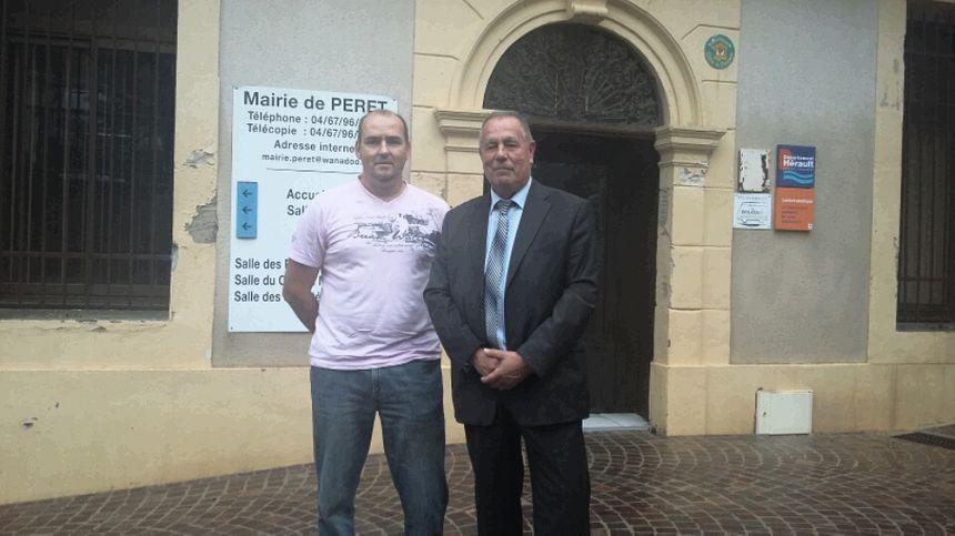 Dominique Zaragoza, président de la Péretoise des eaux et Christian Bilhac, maire de Péret