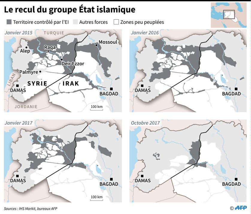 Evolution des zones contrôlées par le groupe jihadiste Etat islamique entre janvier 2015 et le 17 octobre 2017 en Syrie et en Irak