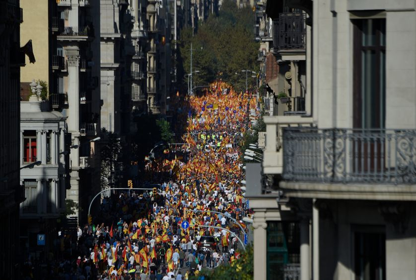 Manifestations des anti-indépendantistes à Barcelone le 08/10/17 à l'appel de la Société Civile Catalane (SCC)