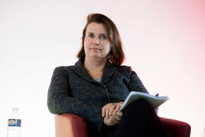 Claire Hédon, présidente d'ATD Quart Monde France le 7 mars 2016 pendant une conférence des lundi de gauche, au siège du Parti Communiste Francais (PCF).