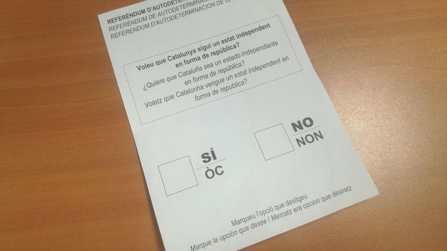 Un bulletin de vote pour le référendum catalan de 2017
