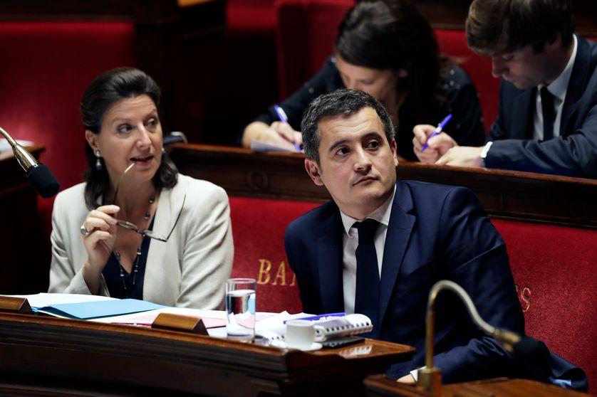 Agnès Buzyn, ministre de la Santé, et Gérald Darmanin, ministre de l'Action et des Comptes publics, à l'Assemblée nationale