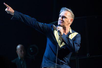 Morrissey en concert sur la scène du Leeds Arena le le 20 mars 2015.