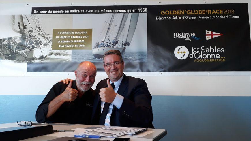 L'organisateur de la GGR, Don Mc Intyre, et le président des Sables d'Olonne Agglomération, Yannick Moreau