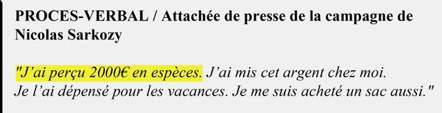 Extrait du procès-verbal de l'attachée de presse de la campagne de Nicolas Sarkozy en 2007