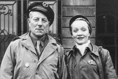 """Détail de la couverture de """"Gabin et Dietrich, un couple dans la guerre"""" de Patrick Glâtre"""