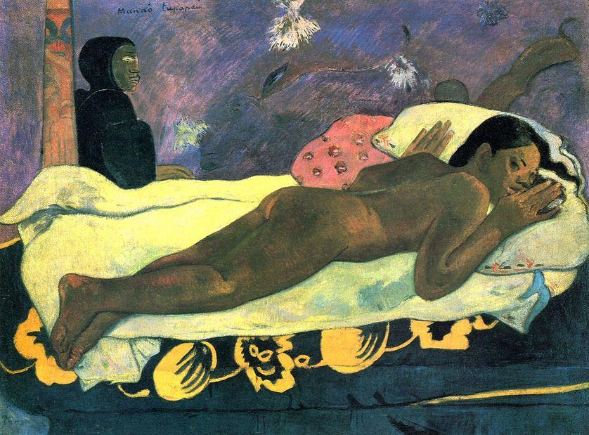 Manao Tupapau (L'esprit des morts veille). Huile sur toile peinte à Tahiti (1892), conservée à l'Albright-Knox Art Gallery