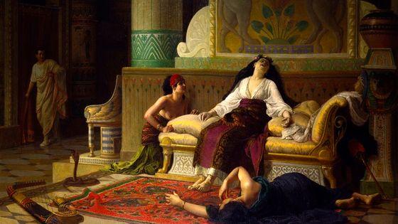"""Louis-Marie Baader (Lannion, 1828 – Morlaix, 1920) """"La mort de Cléopâtre, reine d'Égypte"""", Vers 1899, Huile sur toile Rennes, musée des Beaux-Arts"""