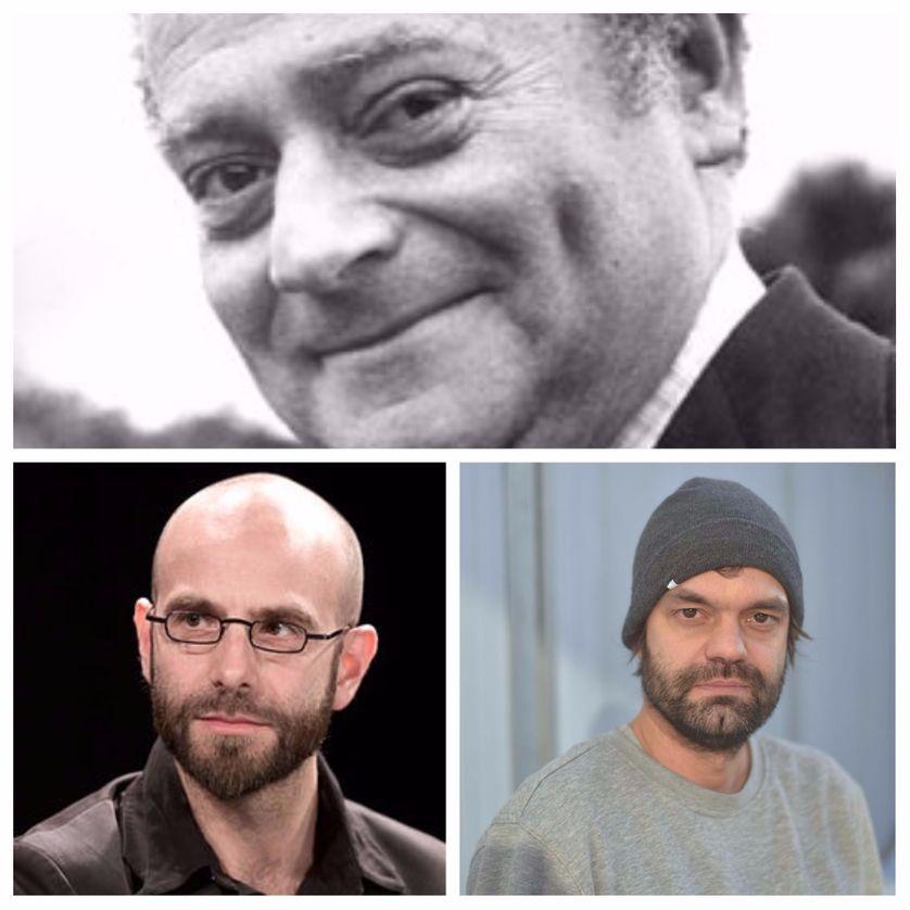 En haut, René Goscinny ; en bas à gauche : Ludovic Debeurme ; à droite : Olivier Schrauwen / Crédits : Creative Commons