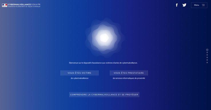 La page d'accueil de cette plateforme qui devenir un portail unique de référence pour les victimes de cyberattaques