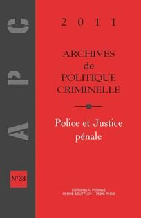 Archives de politique criminelle, vol. 33, no. 1, 2011