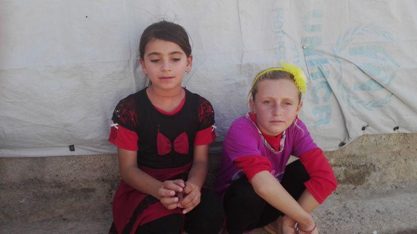 Des fillettes yézidies réfugiées au Kurdistan irakien