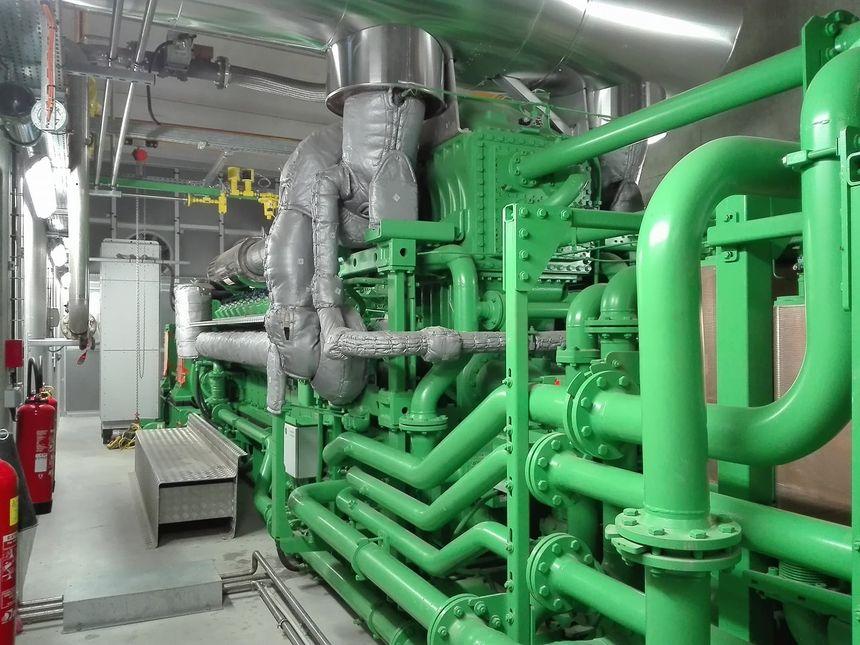 Le moteur de la centrale de cogénération sur l'exploitation de Christophe Rousse