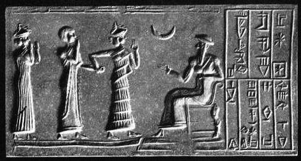 Empreinte de sceau-cylindre : Khashkhamer, gouverneur d'Ishkun-Sîn, est présenté au roi Ur-Nammu divinisé assis sur son trône/c. 2400 av JC/British Museum). Photo: Mansell, extrait de Donald A. Mackenzie, Myths of Babylonia and Assyria (1915)