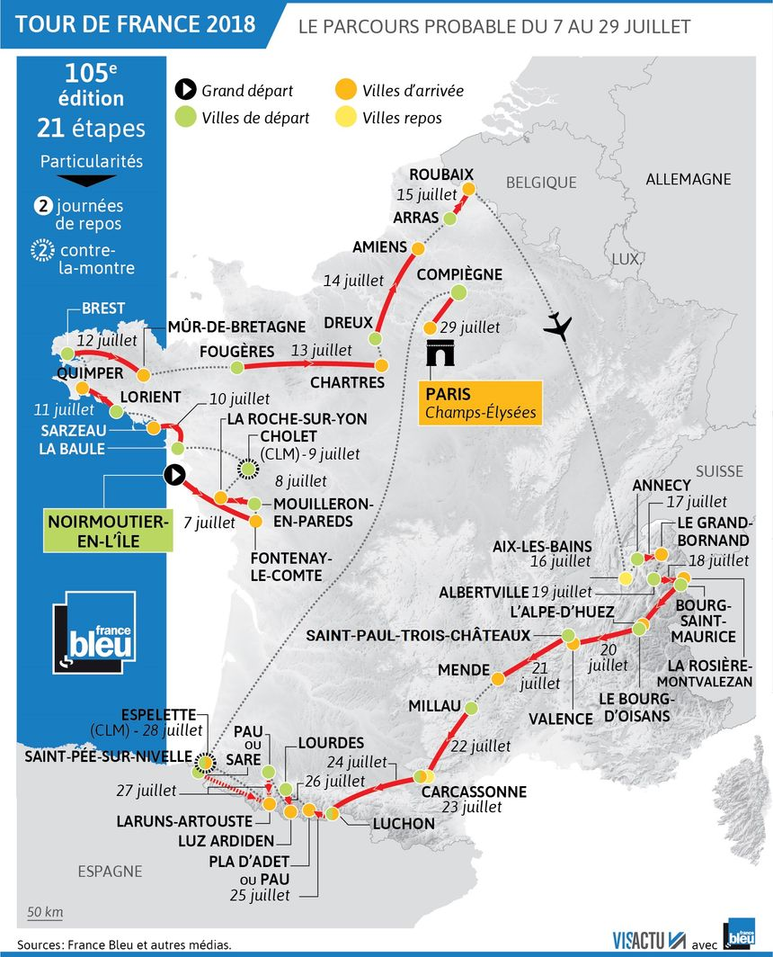 Le parcours probable du Tour de France 2018