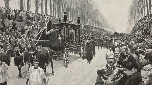 Funérailles de Giuseppe Verdi à Milan, le 30 janvier 1901, dessin de Fortunino Matania, publié dans Lillustrazione Italiana en février 1901.